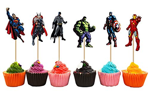 Avengers and Superheros Cupcake Toppers Party Pack for 24 Cupcakes -