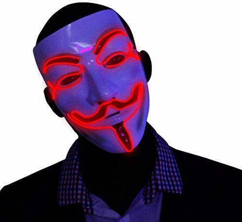 """Masque """"V pour Vendetta"""" rouge à LED, masque de Guy Fawkes Anonymous, masque illuminé fluorescent pour Halloween"""