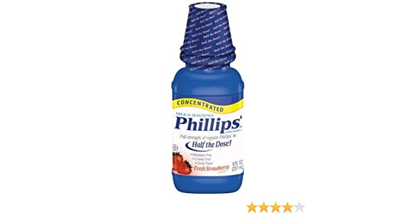 Amazon.com: Phillips Concentrated Milk of Magnesia, Fresh Strawberry, 8-Ounce Bottles (Pack of 4): Health & Personal Care