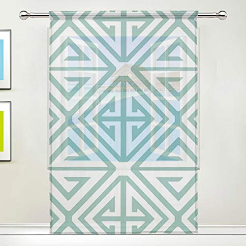 (Lxmn Demetrius Gold Door Window Room Sheer Curtain Window Drape 431 Panel Scarf Valances Wide Width Gauze Curtain for Bedroom Kitchen)