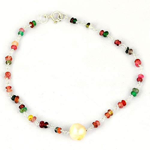 Orchid Jewelry Multi Sapphire, Freshwater Pearl 925 Sterling Silver Beaded Bracelets Girls