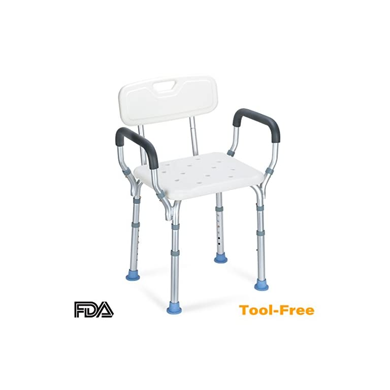OasisSpace Heavy Duty Shower Chair with Back – Bathtub Chair with ...
