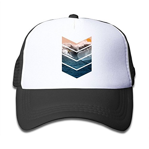 Sunrise Surfer Youth Adjustable Mesh Hats Baseball Trucker Cap for Boys and Girls Black (Surfing Baseball Caps)