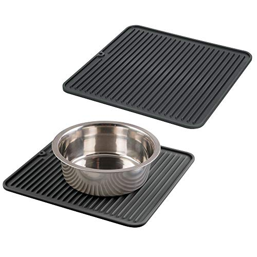 mDesign Premium Quality Square Pet Food and Water Bowl Feeding Mat for Dogs and Puppies – Waterproof Non-Slip Durable…