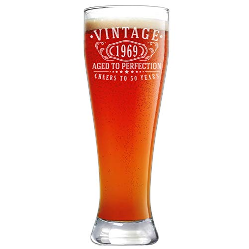 50th Birthday Etched 23oz Pilsner Beer Glass - Vintage 1969 Aged to Perfection - 50 years old gifts ()