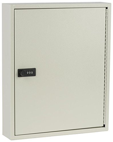 Displays2go Locking Key Cabinet with 80 Hooks, Manual Combination Lock, Wall Mount, Gray Steel (PWCBN80TN) by Displays2go (Image #2)