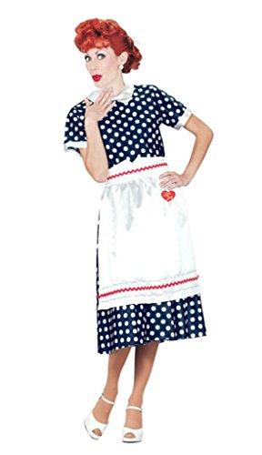 Pony Express Womens I Love Lucy Polka Dot Dress Halloween Themed Fancy Costume, L (14-16)