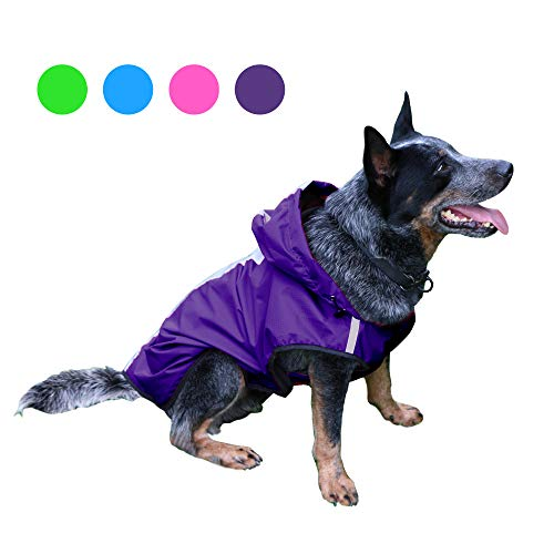 Kamots Beauty Dog Waterproof Raincoat, Lightweight Packable Jacket with Reflective Stripes for High Visibility Safety- Adjustable Hood Poncho for Small Medium Large Dogs (Purple XL)
