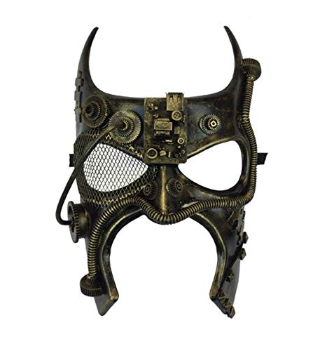 Face Gothic - KBW Adult Unisex Steampunk Gold Gladiator Spartan Face Mask Vintage Victorian Style Retro Punk Rustic Gothic Mechanical Party Bling Costume Accessories