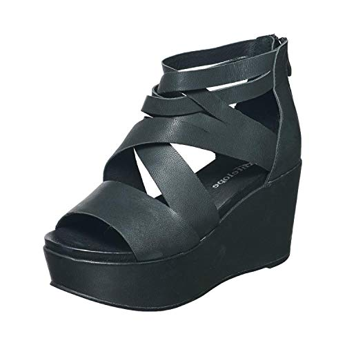 Antelope Women's 853 Black Leather Wide Cut Wedge Sandals 41