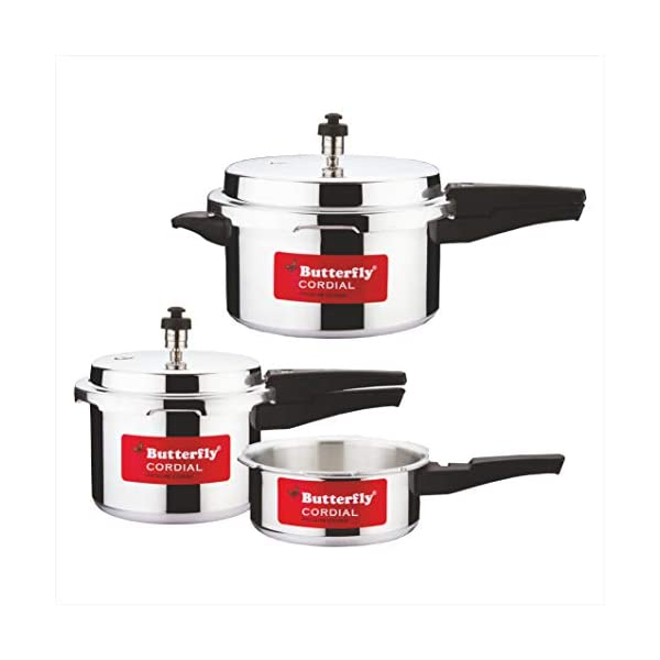 Butterfly Cordial 2 L, 3 L & 5 L Induction Bottom Pressure Cooker (Aluminium)