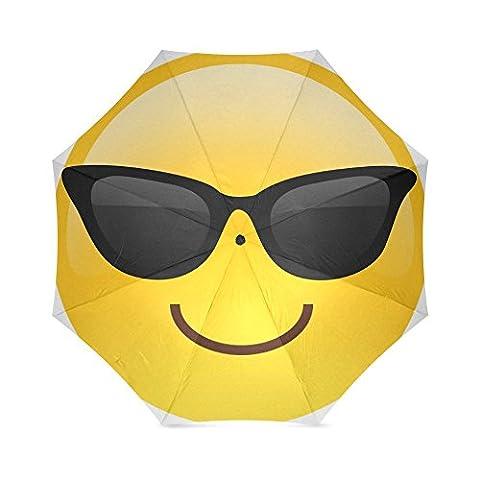Fashion Design Smiley Face Emojis Folding Windproof outdoor Travel Umbrella for Women - Smiley Black Cap