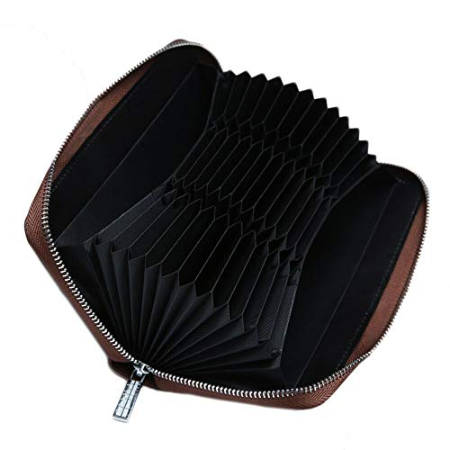 - Credit Card Holder Leather Zip Around Clutch Large Travel Purse with Large Capacity (Coffee) ()