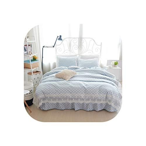 (TT Lemon 100% Cotton Lace Edge Kids Girls King Queen Twin Size Bed Skirt Set Bedding Set Princess Bed Set Duvet/Quilt Cover Pillow Shams,Blue,Queen 4Pcs)