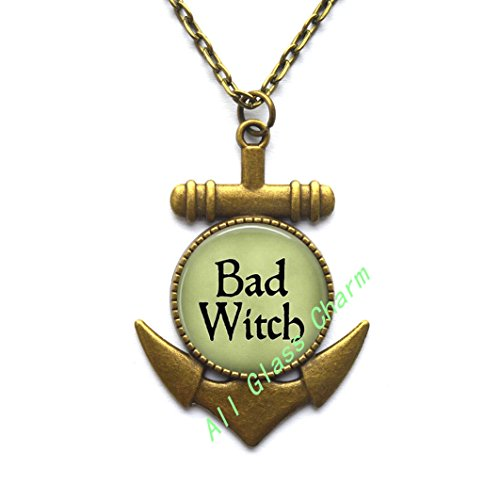 (AllGlassCharm BAD WITCH Anchor Pendant Anchor Necklace - Witch Anchor Necklace - Evil Witch Jewelry - Witch Costume Jewelry - Wicked Witch of the West Anchor Necklace,AS0258)