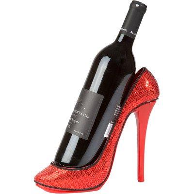 KitchInnovations Sequin Print High Heel Wine Bottle Holder - Stylish Conversation Wine Rack