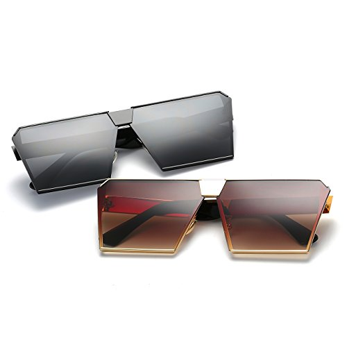 Sunglasses Frame Transparent Sunglasses Frame Metal CVOO Oversized Square Flat Silver Top 0HUSHIwWq7