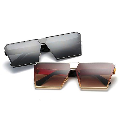 Square Flat Metal Sunglasses Oversized Frame Silver CVOO Sunglasses Transparent Frame Top Zp5Rqpx