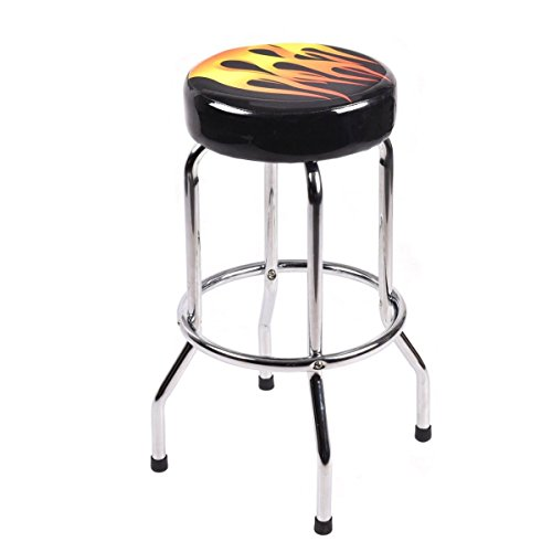 Costway Chrome Bar Stools Retro Nostalgic Style Black Bar Stool, 29