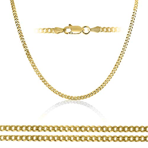 (Orostar 10K Yellow Gold 3.6mm Curb Chain Necklace, 7