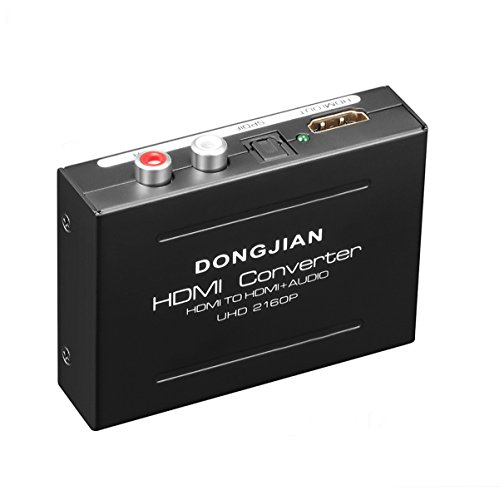 DONGJIAN 4K HDMI Audio Extractor, HDMI to HDMI + Optical Toslink(SPDIF) + RCA(L/R) Stereo Analog Outputs Video Audio Splitter Converter Support 3D for PS4 Xbox One DVD Blu-ray Player HD TV Projector