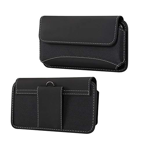 - DFV mobile - Belt Case Cover Horizontal Leather & Nylon for => JINGA Basco M500 3G > Black