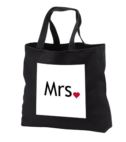 tb_112858_3 InspirationzStore His and Hers gifts - Mrs with red love heart - part of Mr and Mrs set for a romantic couple - just married valentines day - Tote Bags - Black Tote Bag JUMBO 20w x 15h x 5d