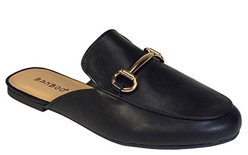 Womens Flat PU Casual Slippers Black - 4