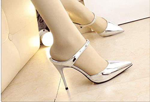 Argent AWXJX été Tongs Femme Chaussures Fait Baotou Haut Talon moitié Faites Glisser très Bien avec 5.5 US 35.5 EU 3 UK