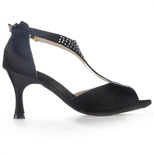 Jia Jia Y2058 Latin Women's Sandals 2.7'' Flared Heel Super Satin with Rhinestones Dance Shoes Black 33W4MIMqb
