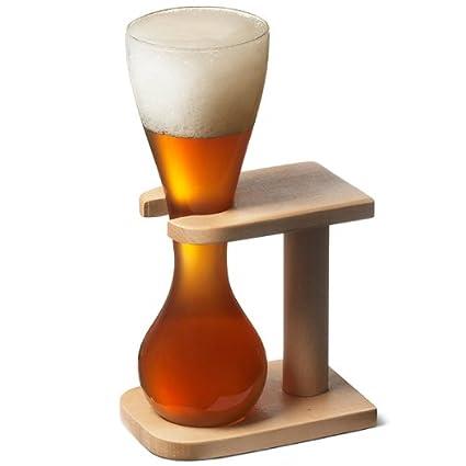 Vaso de vidrio de yarda con soporte para cerveza