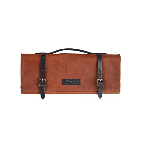 Knife Roll - Leather - Cognac - Made in USA by Hardmill