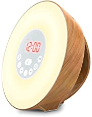 Coulax Wake Up Light Wood Grain Sunrise Sunlight Alarm Clock 7 Colors Bedside Lamp with 6 Natural Sounds, FM Radio, Snooze Function