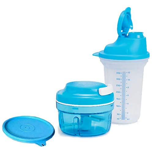 (Tupperware Turbo Chef Herb Smart Chopper, Chop N Prep Set 300ml / 10 OZ and Quick Shaker)