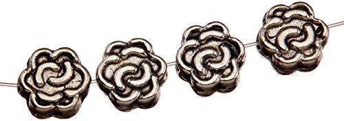 (Cousin Jewelry Basics Metal Beads 7mm 39/Pkg-Flower Silver)