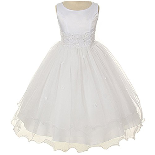 Little Girls Sleeveless Satin Bodice with Lace Beads Waistline And Curly Overlay Skirt White - Size 6