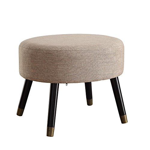 Convenience Concepts Designs4Comfort Tan Fabric Mid Century Ottoman Stool by Convenience Concepts
