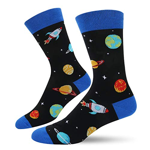 Men Novelty Funny Space Crew Socks Planet Rocket Star Funky Dress Cotton Socks]()