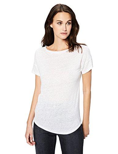 - Daily Ritual Women's 100% Linen Short-Sleeve Open Crew Neck T-Shirt, S, White