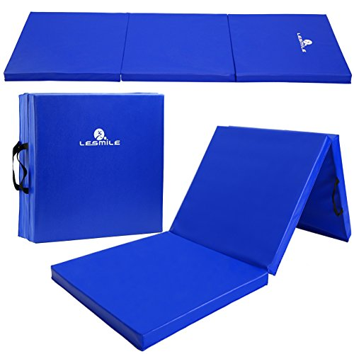 LESMILE Gymnastic Mats Waterproof PU Leather Thick Folding Exercise Gym Mats Tumbling Mats with Carrying Handles 6' x 2' Blue