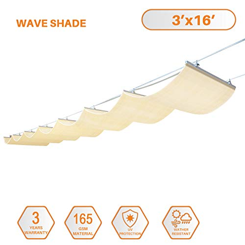TANG Sunshades Depot Retractable Slide on Wire Canopy Awning Roofing Replacement for Pergola Gazebo Trellis Terrace for Deck Patio Restaurant Cafe' Porch Beige 3'X16'