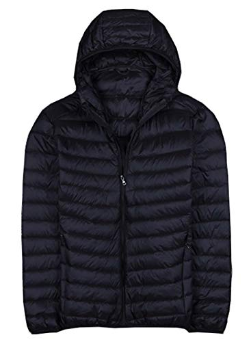 Femaroly Young Man Autumn Winter Coat Light Thin Packable Down Jacket Hood Black XL -