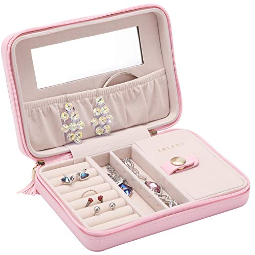 JL LELADY JEWELRY Small Jewelry Box Organizer Travel Jewelry Case Portable Faux Leather Jewelry Boxes Storage Case with Mirror for Women Girls (Pink)