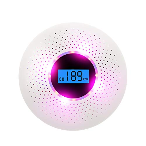 Mini Smoke Detector and Carbon Monoxide Detector Combo, with Sound Warning and Number Display Battery Powered Smoke CO Detector by CFFAMCC (Image #1)