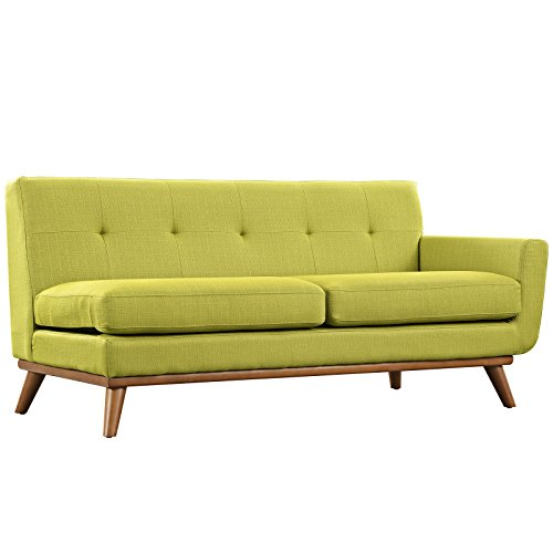 Modway Engage Mid-Century Modern Upholstered Fabric Right-Arm Loveseat In (Love Wheat Grass)