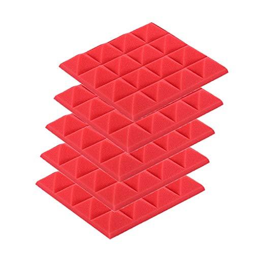 (CapsA 5Pcs Acoustic Panels Studio Foam Sound Proof Panels Nosie Dampening Foam Studio Music Equipment Acoustical Treatments Foam Sound Stop Absorption Sponge Studio KTV Soundproof (Red))