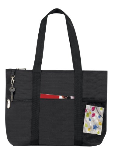 Zipper Travel Tote Sports Gym Bag, Black by BAGS FOR LESS