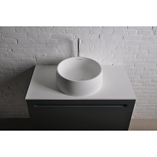ID Quod Round 17 in. Solid Surface Vessel Sink Bowl Above Counter Sink Lavatory by ID Bath Collection