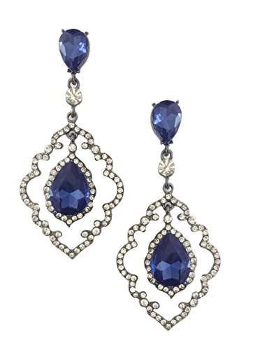 Large Silver Tone Art Deco Antique Vintage Style Blue Sapphire Rhinestone Long Dangle Earrings (Vintage Silver Tone Rhinestone Blue)