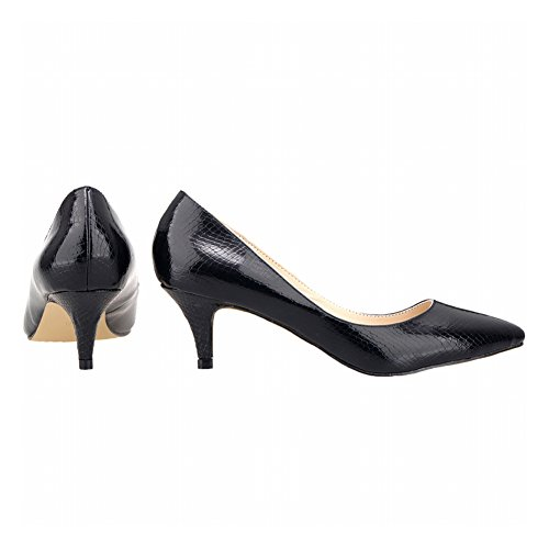 Zhuhaixmy Spring Women Candy Color Pointed Toe Shallow Mouth Crocodile Pattern Pumps Shoes Black 2YoUgNT8p